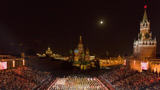 The Twelfth International Military Music Festival Spasskaya Tower starts 23 August in Moscow on Red Square