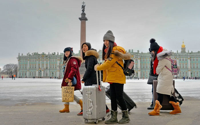 The number of Chinese tourists in Russia increases